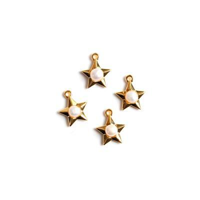 Gold Plated 925 Sterling Silver Stars Charms With Freshwater Pearls Approx 9x7mm(4pcs)
