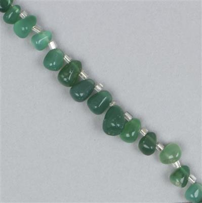 85cts Green Onyx Graduated Irregular Plain Drops Approx 4x2 to 8x5mm, 38cm Strand.