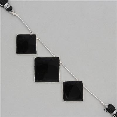 85cts Electroplated Black Onyx Graduated Corner Drilled Squares Approx 24 to 31mm, 7cm Strand.(3pcs)