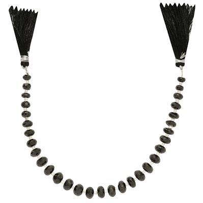 80cts Black Spinel Graduated Faceted Rondelles Approx From 5x3 to 8x4mm, 18cm Strand.