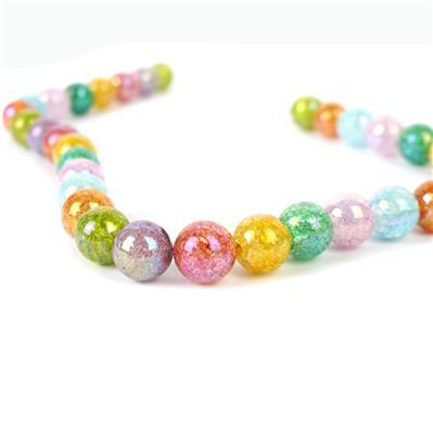 380cts Rainbow Coated Crackled Multi-Colour Quartz Plain Rounds Approx 12mm, Approx 38cm strand