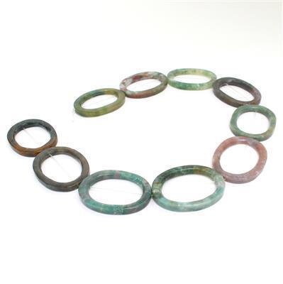 250cts Fancy Jasper Oval Loops Approx 30x40mm, Approx 38cm strand