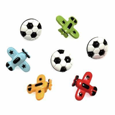 Football & Planes Buttons: Pack of 7