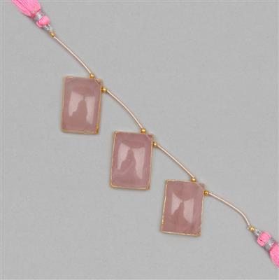 Rose Quartz Beads, Rectangle Gemstone Strands. 85cts, Pendant PGDL32