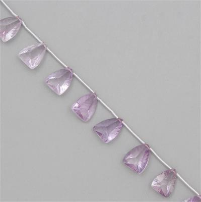 70cts Pink Amethyst Graduated Concave Cut Shields Approx From 15x11 to 16x11mm, 14cm Strand.