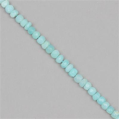 55cts Sky Blue Opal Graduated Faceted Rondelles Approx 3x2 to 6x4mm, 30cm Strand.