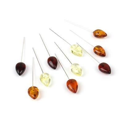 Baltic Multi Colour Amber Drop Approx 11x7mm, Sterling Silver Headpins 0.76mm/22Gauge, 26mm (10Pc)