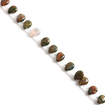 130Cts Top-Drilled Rhyolite Puffy Pears Approx 10x14mm, 38cm strand