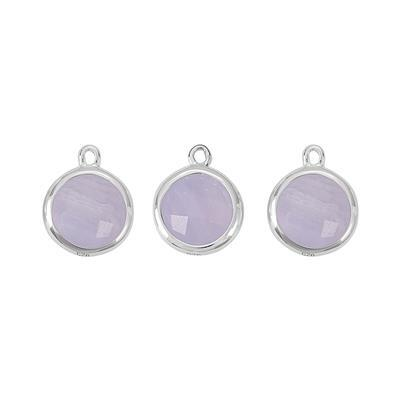 925 Sterling Silver Bezel Charms Approx 12x10mm Inc. 4.50cts Blue Lace Agate Briolette Cut Rounds Approx 8mm. (Pack of 3)