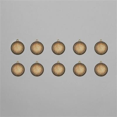 Antique Bronze Round Bezel Approx 20mm (10pcs/pack)