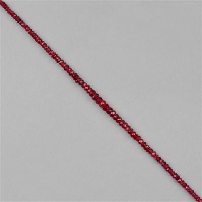 12cts Burmese Scorpion Red Spinel Graduated Faceted Rondelles Approx 1x1 to 3x2mm, 20cm Strand.