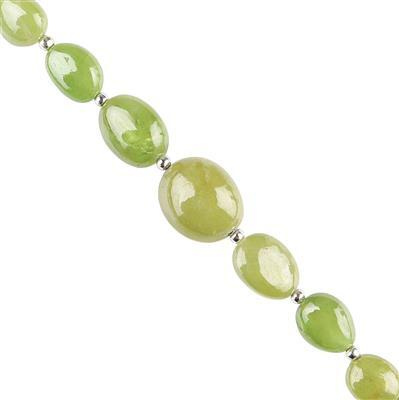 45cts Sphene Graduated Plain Tumbles Approx 7x5 to 13x10mm, 10cm Strand.