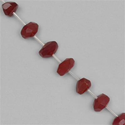 155cts Red Chalcedony Graduated Faceted Irregular Large Nuggets Approx 14x10 to 18x12mm, 16cm Strand.