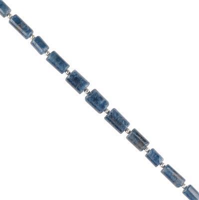 50cts Blue Sapphire Graduated Plain Barrels Approx 5x3 to 9x5mm, 18cm Strand.