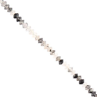 15cts Black Rutile Faceted Saucers Approx 3x2mm, 28cm Strand.