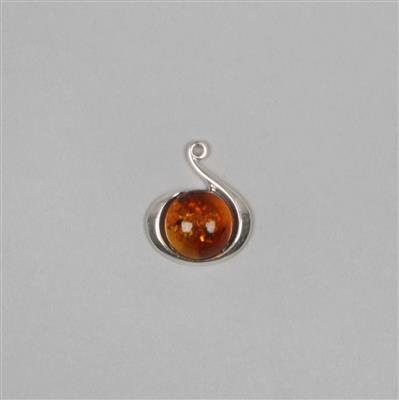 Baltic Cognac Amber Sterling Silver Swirl Pendant Approx 18x15mm
