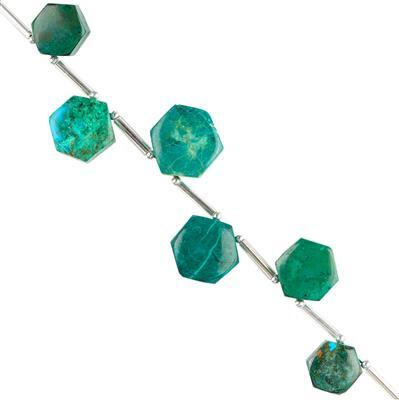 45cts Chrysocolla Graduated Plain Hexagons Approx 9 to 13mm, 8cm Strand.