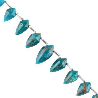 90cts Neon Apatite Graduated Plain Fancy Drops Approx 11x8 to 19x10mm, 10cm Strand.