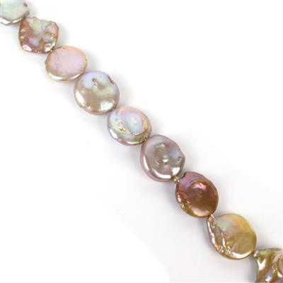 Natural Metallic Freshwater Cultured Side Drill Keshi Pearls, Approx 12 to 19mm