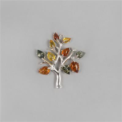 Baltic Cognac, Green, Lemon Amber Tree Pendant with Sterling Silver Pendant Approx 33x29mm