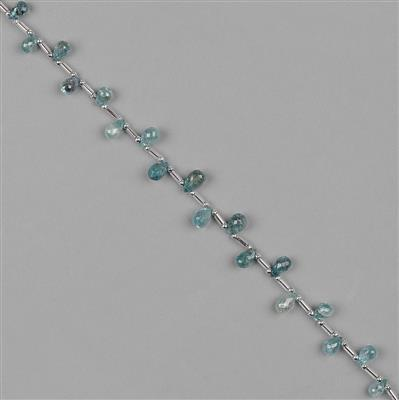 48cts Blue Zircon Graduated Faceted Drops Approx 4x3 to 9x5mm, 20cm Strand.