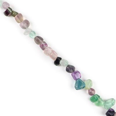 240cts Fluorite Medium Nuggets from Approx 8x7mm to 16x10mm, Approx 38cm Strand