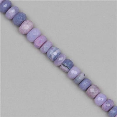 80cts Lavender Opal Graduated Faceted Rondelles Approx 5x3 to 9x4mm, 19cm Strand.