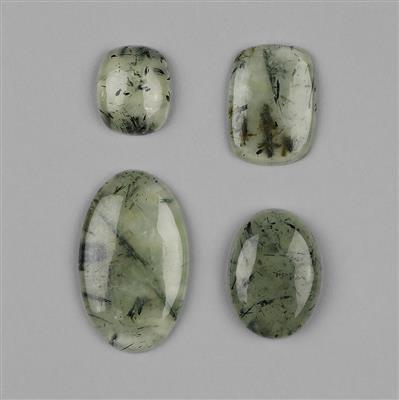 185cts Rutilated Prehnite Multi Shape Cabochons Assortment.