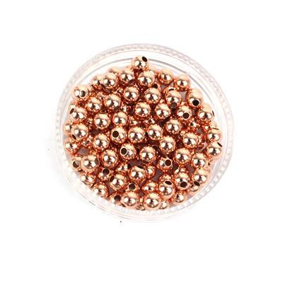 Rose Gold Plated Sterling Silver Spacer Beads Approx 4mm (100pcs)