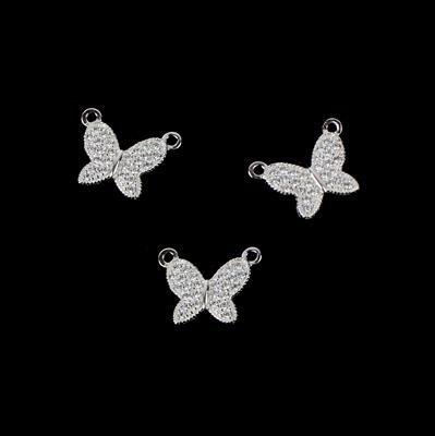 Spring Butterfly Connectors 925 Sterling Silver and Cubic Zirconia Approx 12mm, 3pk