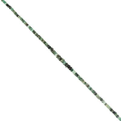 44cts Emerald Graduated Faceted Rondelles Approx 2x1 to 5x3mm, 30cm Strand.