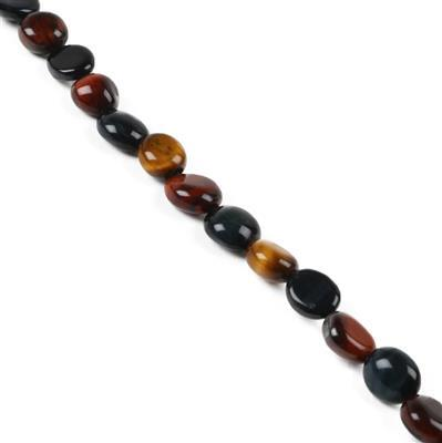 100cts Multi-Colour Tigers Eye Small Tumble from Approx 8x6 to 11x8mm, 38cm stand