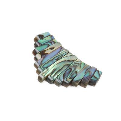 Abalone Graduated Bars Approx 10x4mm-28x4mm, Approx 13pcs