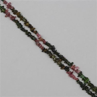 180cts Multi Colour Tourmaline Plain Medium Nuggets Approx 2x1 to 9x2mm, 86cm Strand.