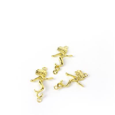 Gold Coloured Vertial Mermaid Connector Approx 31mm, 3pk
