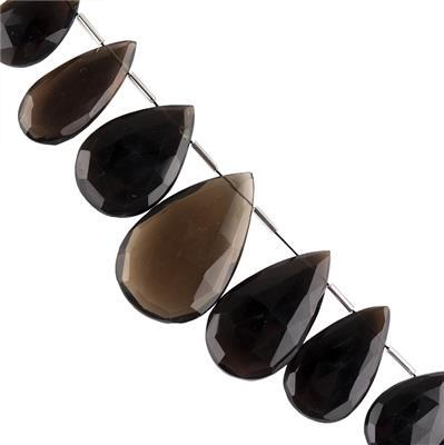 245cts Smokey Quartz Graduated Faceted Elongated Pears Approx 25x14 to 36x22mm, 10cm Strand.