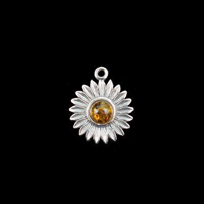 Baltic Cognac Amber Sterling Silver Daisy Pendant Approx 17x14mm