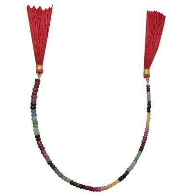 25cts Ruby, Emerald & Sapphire Faceted Rondelles Approx 2x1 to 4x2mm, 18cm Strand.