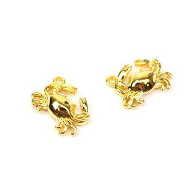 Gold plated 925 Sterling Silver Crab Charms Approx 13x9mm 2pk