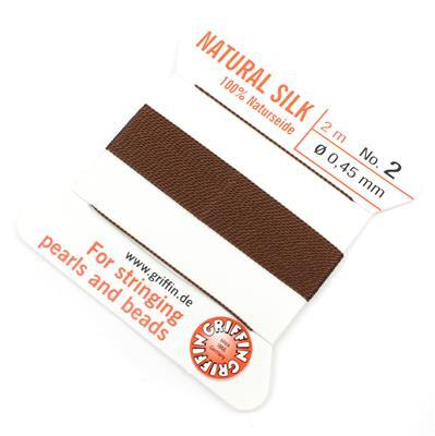 Silk Thread, Size 02 (.45 mm, .018 in) - Brown, with needle, 2 m (6.5 ft)