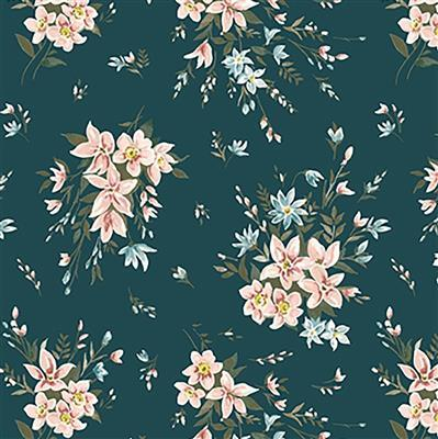 Liberty Bouquet in Teal Fabric from Winterbourne House Range 0.5m