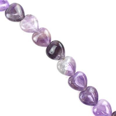 160cts Amethyst Puffy Hearts Approx 12mm 38cm