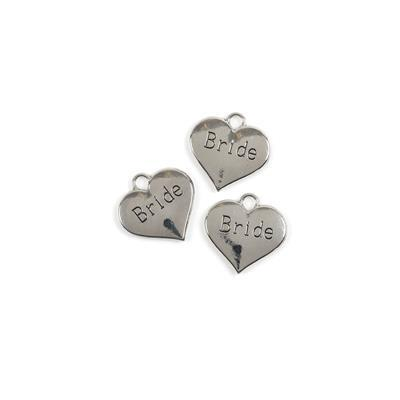 Silver Colour Heart Charms Engraved With Bride Approx 3cm 3pk
