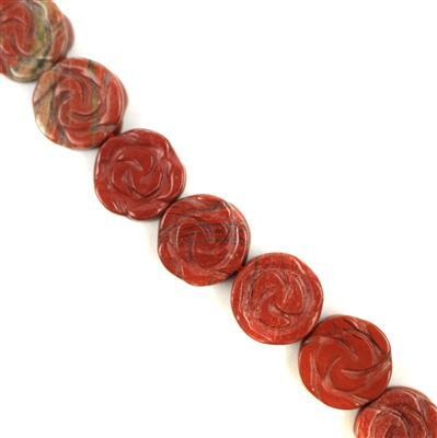 190cts Red Jasper Carved Flower Approx 14mm 38cm