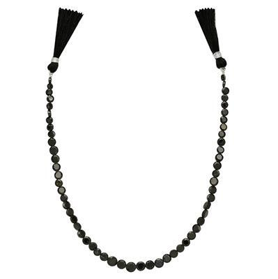60cts Black Spinel Graduated Faceted Buttons Approx From 4 to 7mm, 31cm Strand.