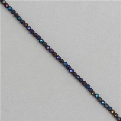 8cts Blue Colour Coated Spinel Micro Faceted Rondelles Approx 2x1mm, 30cm Strand.