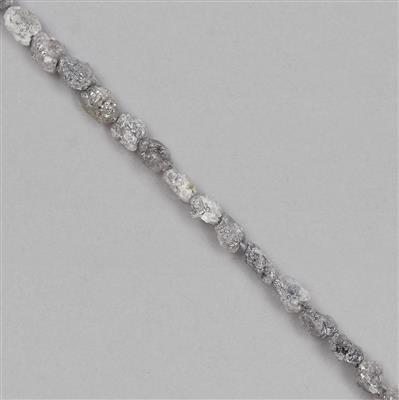 10cts Silver Diamond Small Rough Nuggets Approx 1x1 to 4x2mm, 17cm Strand.