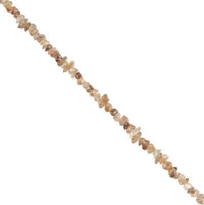 30cts Chocolate Zircon Graduated Rough Nuggets Approx 3x2 to 6x2mm, 18cm Strand.