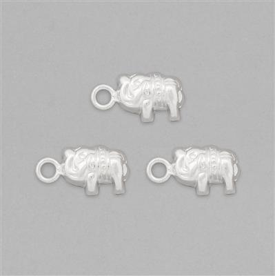 925 Sterling Silver Tiny Elephant Charms Approx 16x8mm (3pcs)