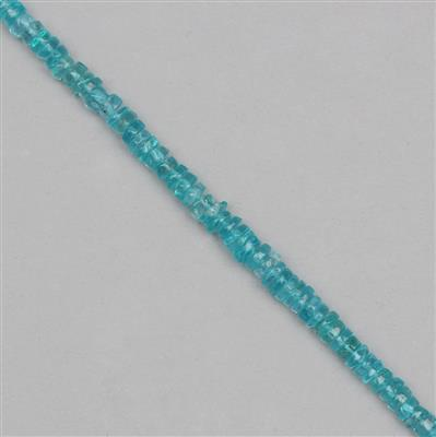 75cts Sky Blue Apatite Graduated Plain Wheels Approx 2x1 to 6x3mm, 30cm Strand.
